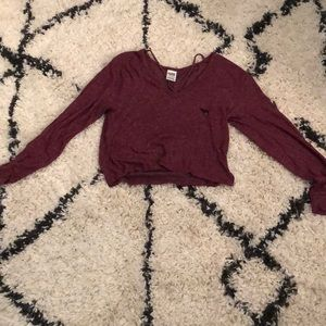 maroon long sleeve vs pink shirt